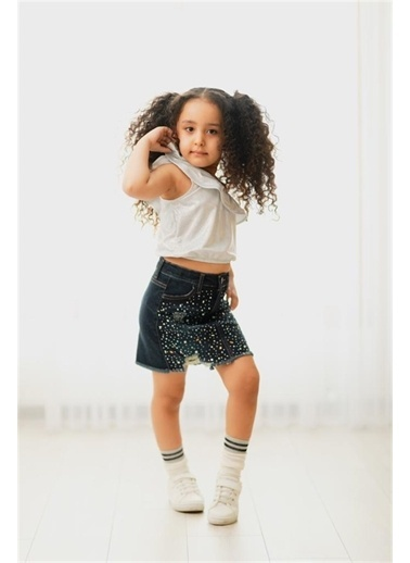 Hilal Akıncı Kids Kiz Çocuk Nokta Sımlı Tek Omuz Bluz Taş Detayli Kot Etek Ikılı Takim Beyaz